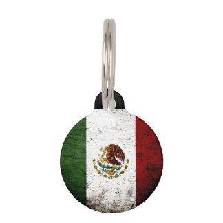 Black Grunge Mexico Flag Pet Name Tag