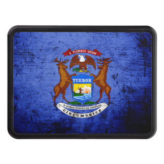 Black Grunge Michigan State Flag Trailer Hitch Covers