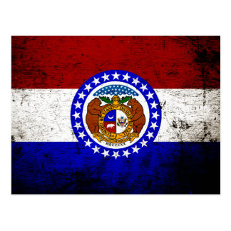 Black Grunge Missouri State Flag Post Card