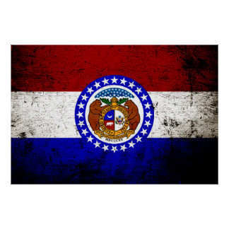 Black Grunge Missouri State Flag Poster