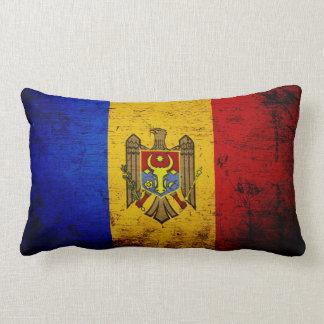 Black Grunge Moldova Flag Lumbar Pillow