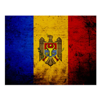 Black Grunge Moldova Flag Postcard