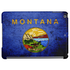 Black Grunge Montana State Flag Ipad Air Covers at Zazzle