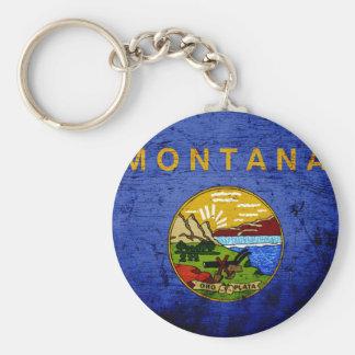 Black Grunge Montana State Flag Keychain