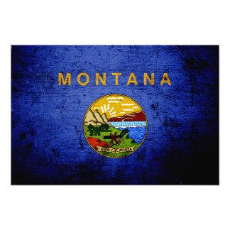 Black Grunge Montana State Flag Photographic Print