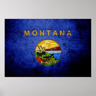 Black Grunge Montana State Flag Print