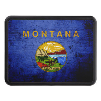 Black Grunge Montana State Flag Tow Hitch Cover