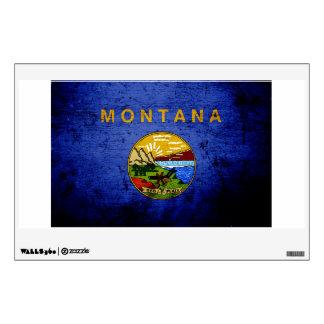 Black Grunge Montana State Flag Room Decal