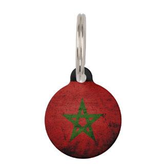 Black Grunge Morocco Flag Pet Name Tag