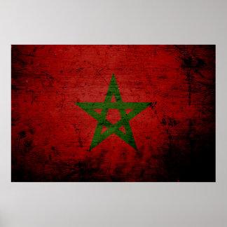 Black Grunge Morocco Flag Poster