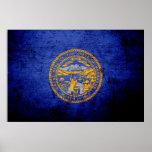 Black Grunge Nebraska State Flag Posters
