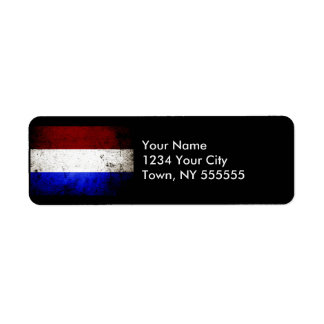 Black Grunge Netherlands Flag Label