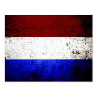 Black Grunge Netherlands Flag Postcard