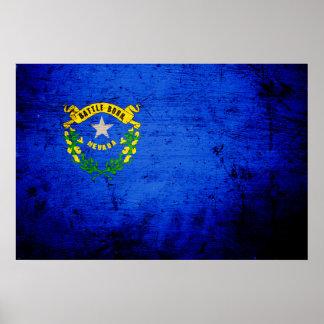 Black Grunge Nevada State Flag Poster