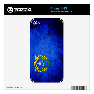Black Grunge Nevada State Flag Skin For The iPhone 4