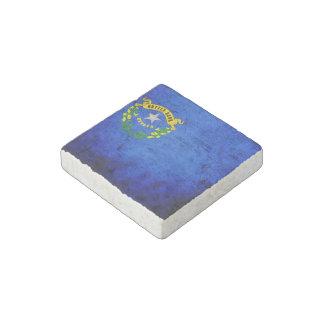 Black Grunge Nevada State Flag Stone Magnet