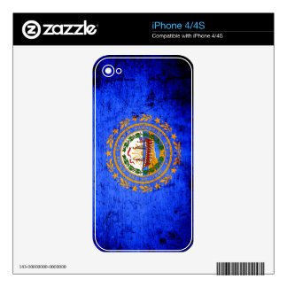 Black Grunge New Hampshire State Flag iPhone 4S Skin