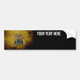 Black Grunge New Jersey State Flag Bumper Stickers