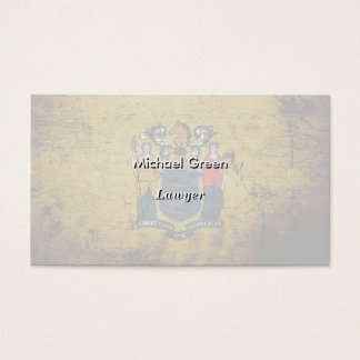 Black Grunge New Jersey State Flag Business Card
