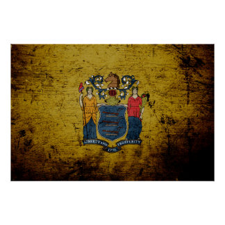 Black Grunge New Jersey State Flag Poster