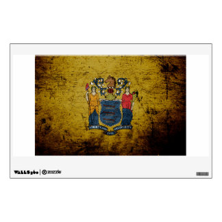 Black Grunge New Jersey State Flag Wall Decor