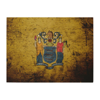 Black Grunge New Jersey State Flag Wood Canvas