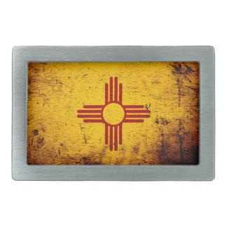Black Grunge New Mexico State Flag Belt Buckle