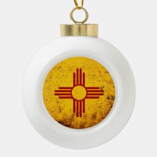 Black Grunge New Mexico State Flag Ceramic Ball Christmas Ornament