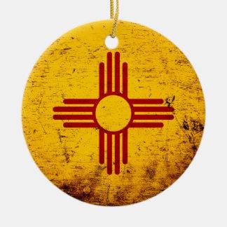 Black Grunge New Mexico State Flag Ceramic Ornament