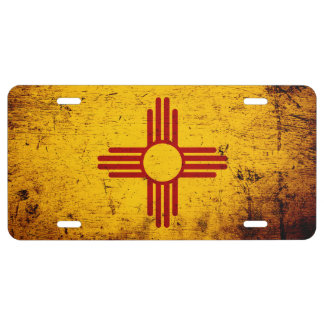 Black Grunge New Mexico State Flag License Plate