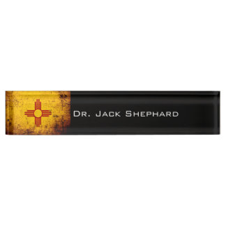 Black Grunge New Mexico State Flag Name Plate