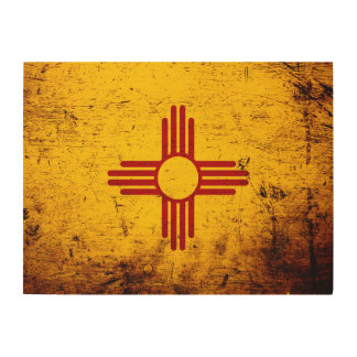 Black Grunge New Mexico State Flag Wood Wall Decor