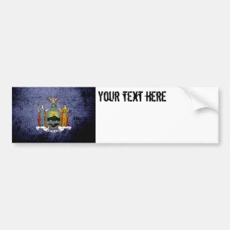 Black Grunge New York State Flag Bumper Sticker