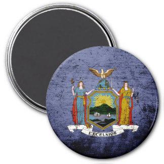 Black Grunge New York State Flag Magnet