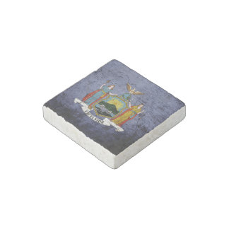 Black Grunge New York State Flag Stone Magnet