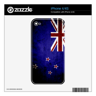 Black Grunge New Zealand Flag 1 Decal For iPhone 4S