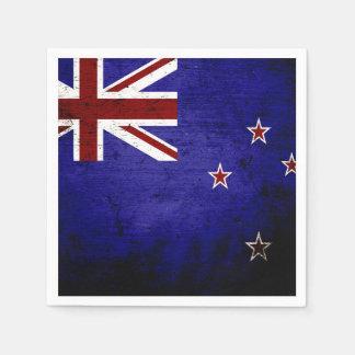 Black Grunge New Zealand Flag 1 Napkin