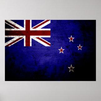 Black Grunge New Zealand Flag 1 Poster