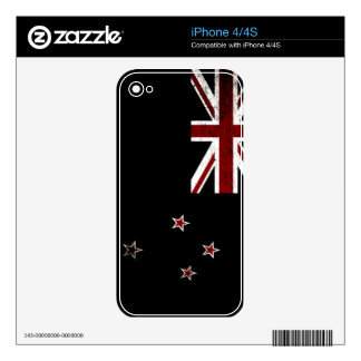 Black Grunge New Zealand Flag 2 iPhone 4 Decal
