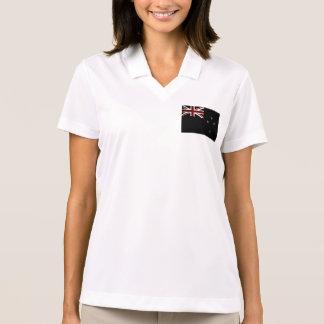 Black Grunge New Zealand Flag 2 Polo Shirt