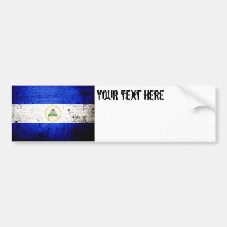 Black Grunge Nicaragua Flag. Car Bumper Sticker