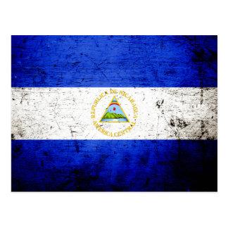 Black Grunge Nicaragua Flag Postcards