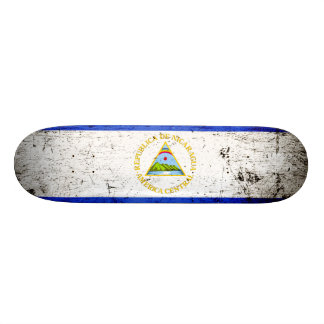 Black Grunge Nicaragua Flag Skateboard Deck