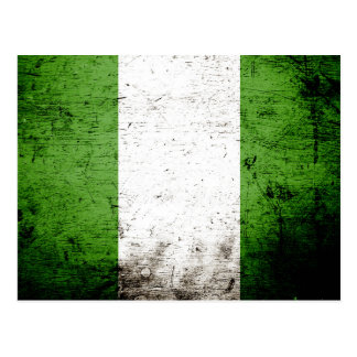 Black Grunge Nigeria Flag Post Cards