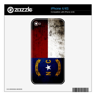 Black Grunge North Carolina  State Flag iPhone 4S Decal