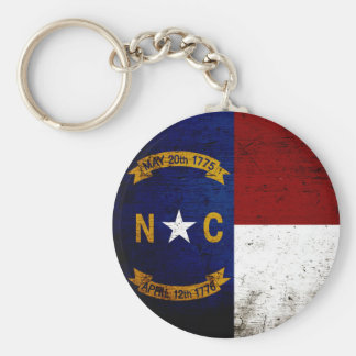 Black Grunge North Carolina  State Flag Keychain