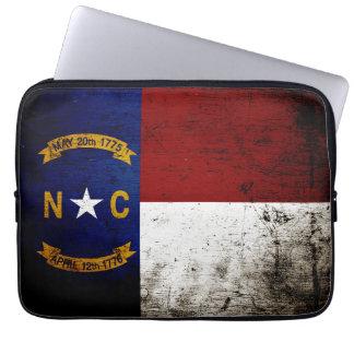 Black Grunge North Carolina  State Flag Laptop Computer Sleeves