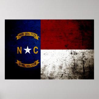 Black Grunge North Carolina  State Flag Poster