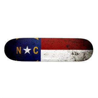 Black Grunge North Carolina  State Flag Skateboard Deck