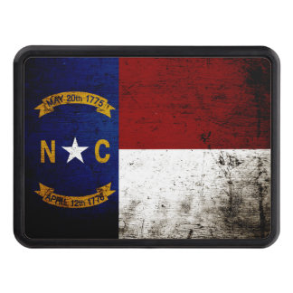 Black Grunge North Carolina  State Flag Tow Hitch Cover